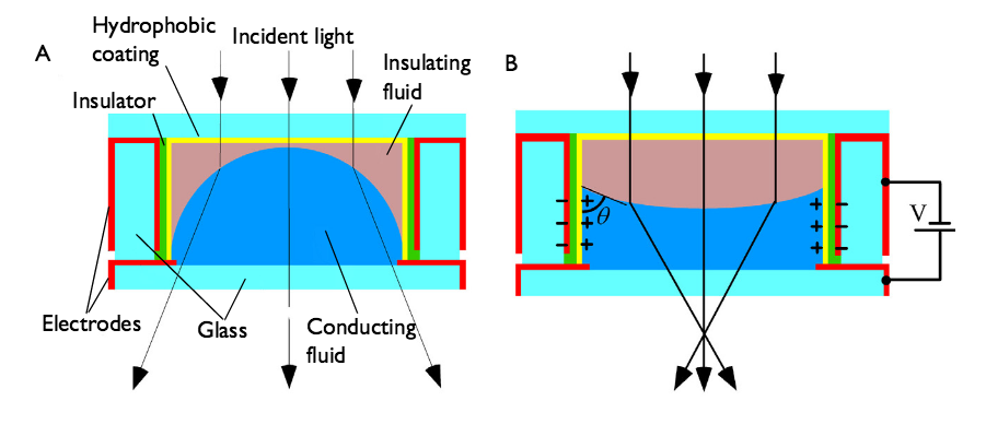 A diagram showing the workings of the Philips FluidFocus lens.