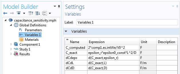 Screenshot showing how to edit variables in the Model Builder.
