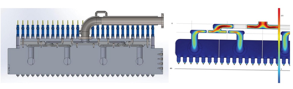 Both the schematic of a chocolate depositor and a simulation of its fluid flow used in the candy production process.