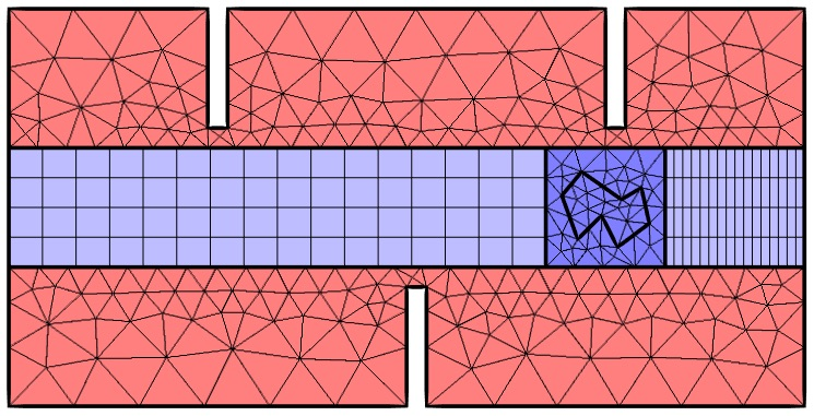 A graphic showing one of the deformed mesh interfaces applied to a subdivided domain.