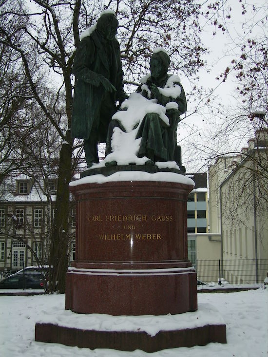 A statue featuring Gauss at the University of Gottingen.