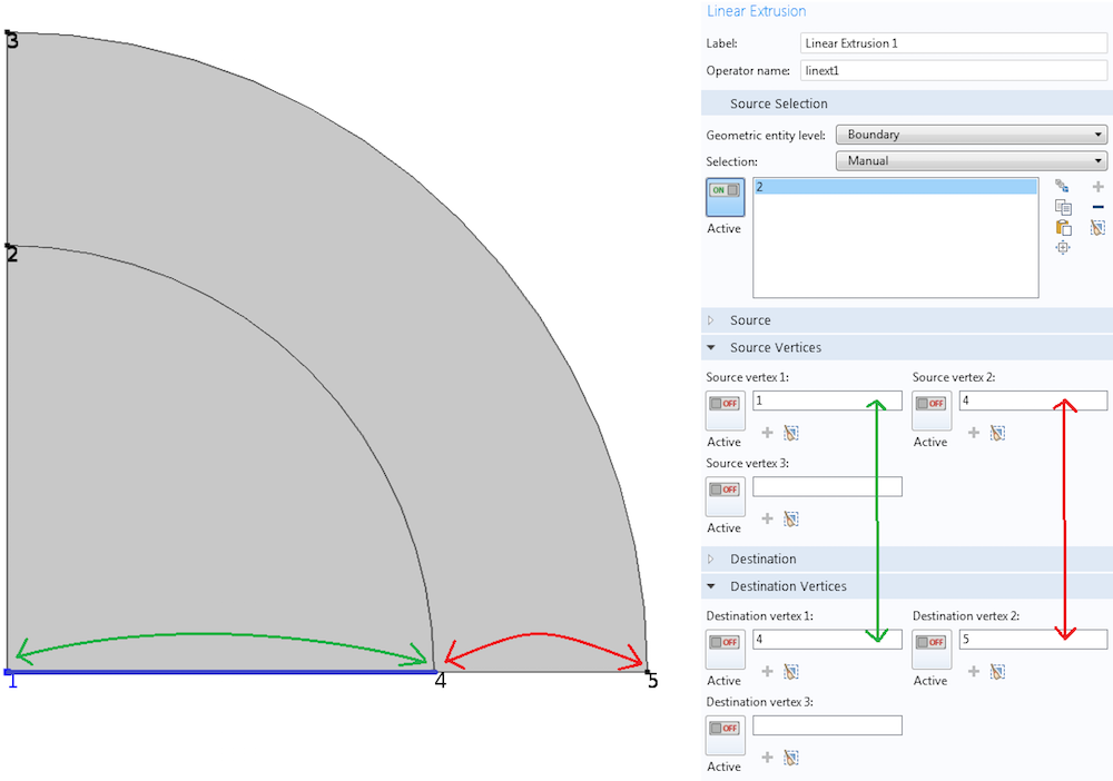 An example of using the Linear Extrusion operator in COMSOL Multiphysics.