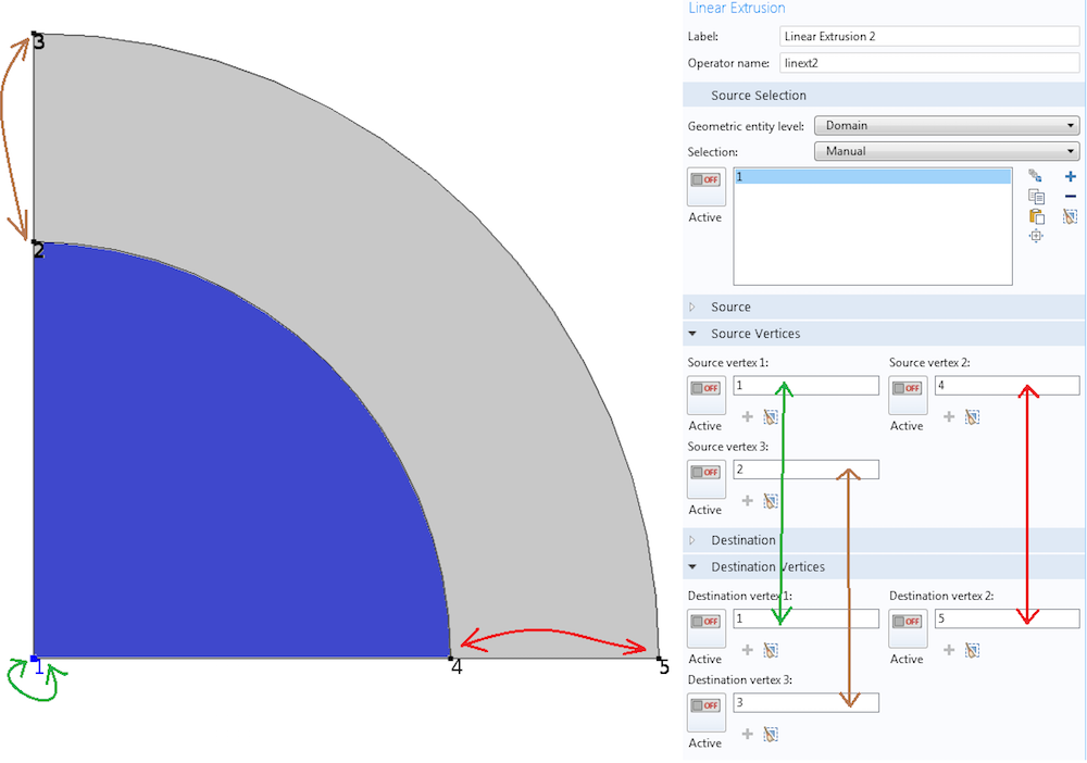 The settings window for a Linear Extrusion operator.