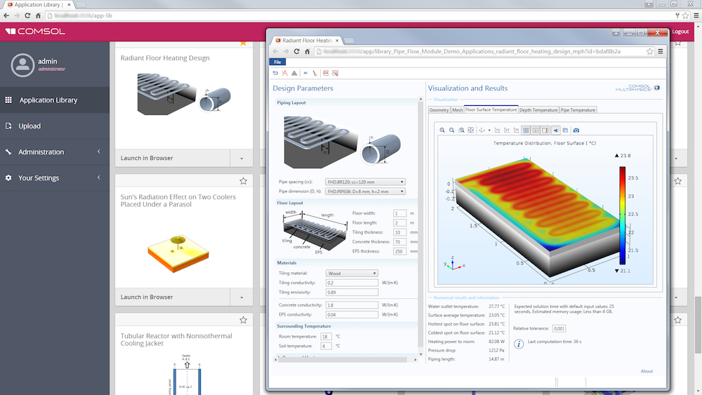 Running an app on COMSOL Server™.