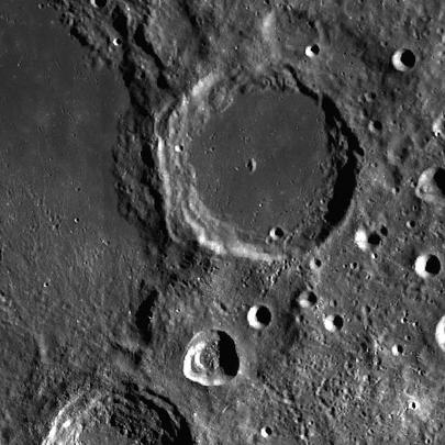 A photograph of a crater on the moon, named after Clinton Davisson.