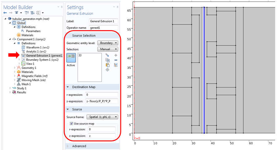 General Extrusion operator settings in COMSOL Multiphysics.