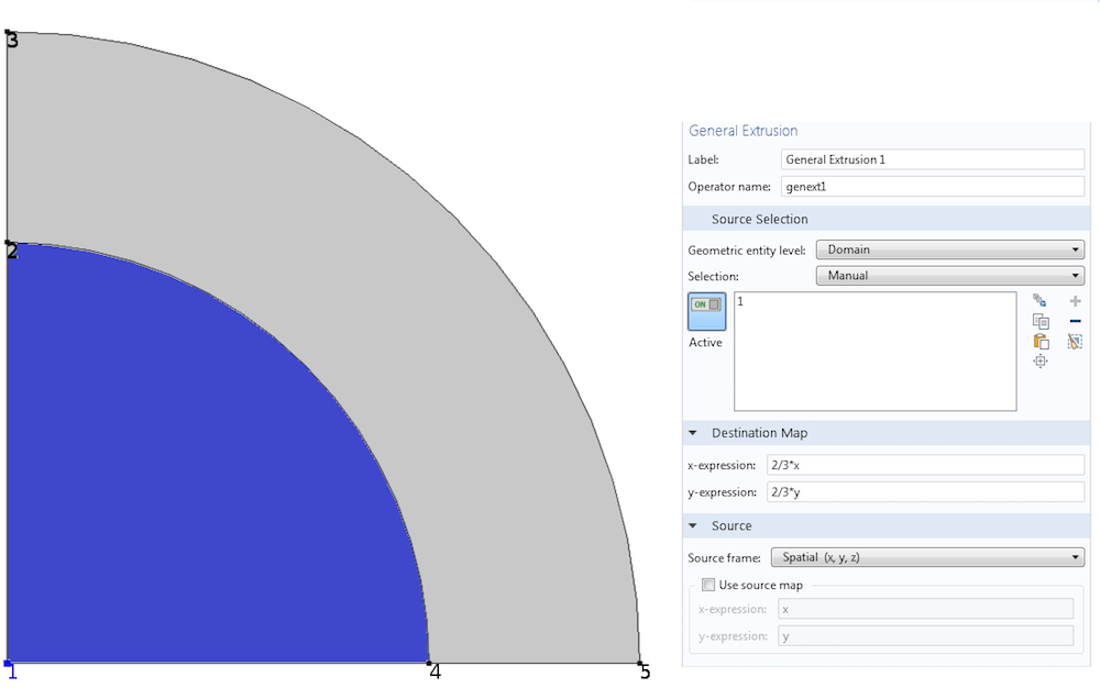 Image showing General Extrusion settings in COMSOL Multiphysics.