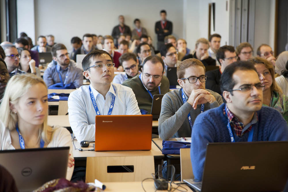 A photograph showing attendees at a hands-on minicourse session like those offered at the COMSOL Conference 2016.