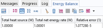 Screen capture displaying the energy balance.