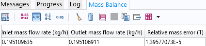 Screen capture showing the mass balance results of a stationary study.