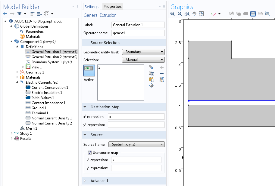 Screenshot showing an extrusion operator used on one side of a junction.