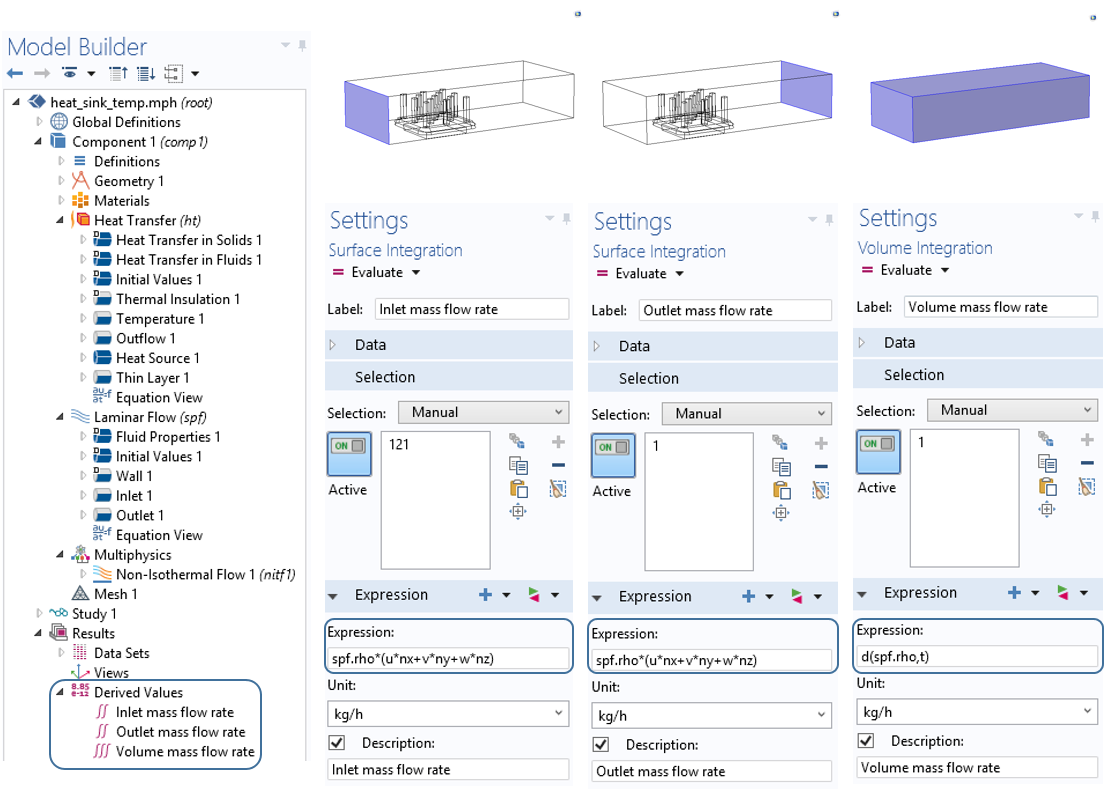 Screenshot displaying the Derived Values functionality in COMSOL Multiphysics.