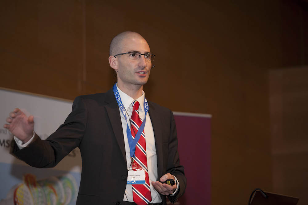 A photograph from the COMSOL Conference 2015 Grenoble of Dr.-Ing Octavian Cracian of ABB Corporate Research Germany.