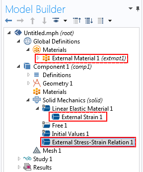 Screenshot showing how to access External Material, External Strain, and External Stress-Strain nodes inside the COMSOL Multiphysics Model Builder.