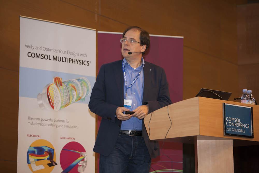A photograph of keynote speaker Roberto Magalotti of B&C Speakers.