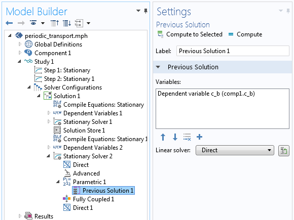 An image of the settings for the Previous Solution node in COMSOL Multiphysics.