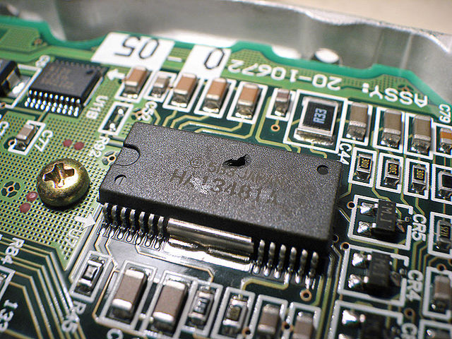 Image of an overheated integrated circuit.