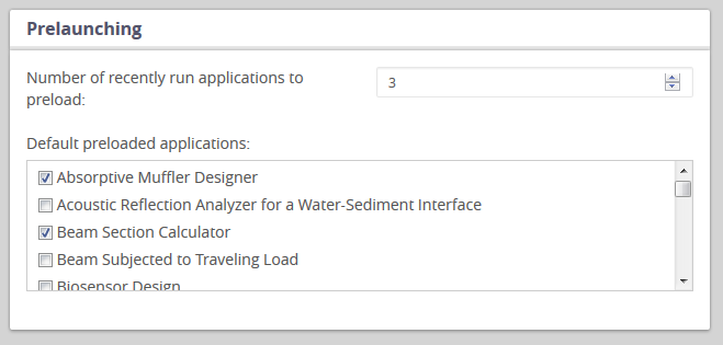 A screen capture of the administrator preferences for preloading apps in COMSOL Server™ version 5.2.