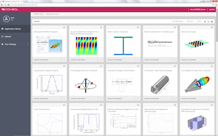 Application Library view in COMSOL Server web interface featured