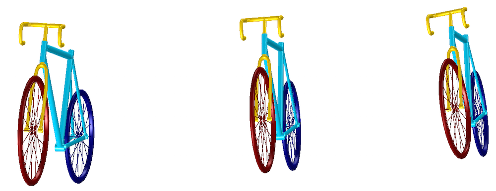 An image showing the motion of a bicycle at three different time instances.