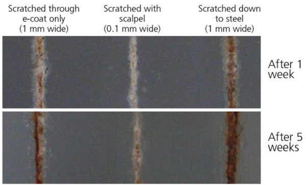 An image of a corrosion test on a piece of steel.