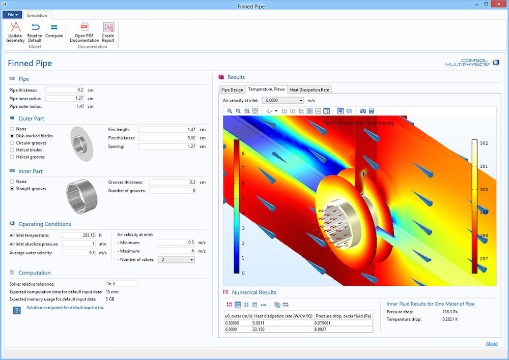 An image of the Cooling Finned Pipe Designer application.