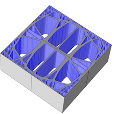 The geometry of a unit cell for a 3D printing material.