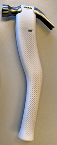 A photo of a 3D-printed hammer handle.