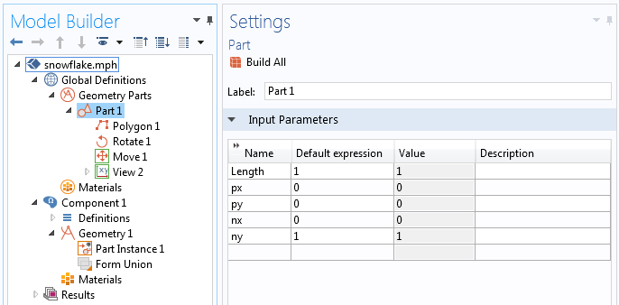 A screenshot showing how to define the input parameters for a geometry part.