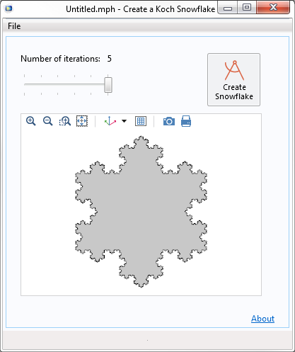 An image of the Koch snowflake simulation app.