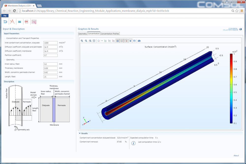A screen capture of the Membrane Dialysis app, run in a web browser using COMSOL Server™.