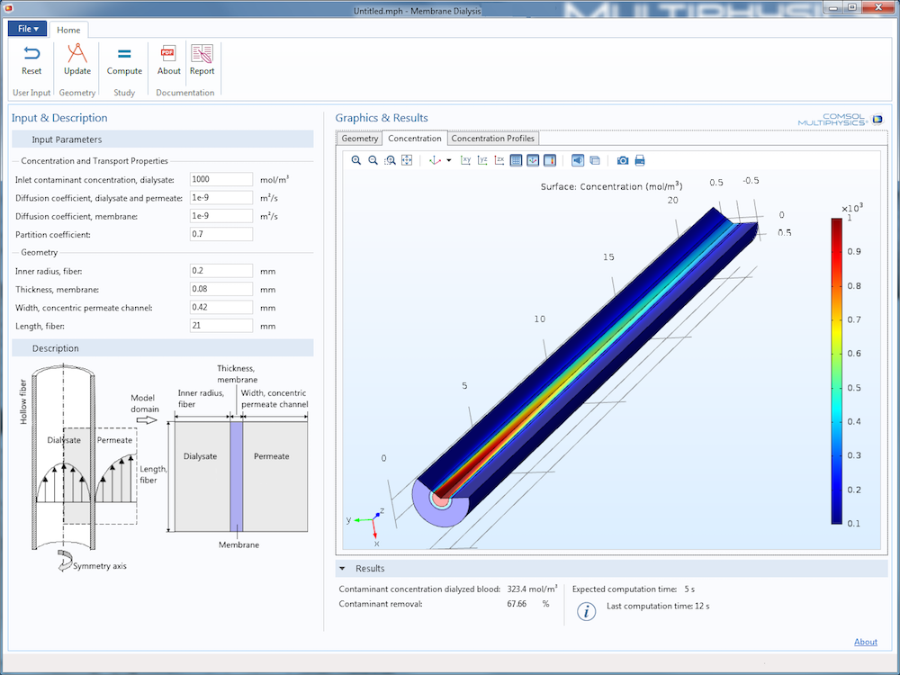 An image showing the Membrane Dialysis app, run in the COMSOL Client for Windows®.