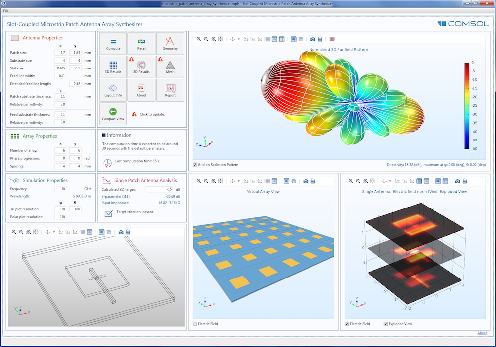 Screenshot of the user interface for a simulation app, created using the Application Builder within COMSOL Multiphysics.