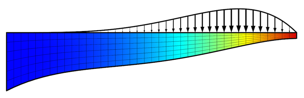 A visualization of the optimized shape of a beam in COMSOL Multiphysics.