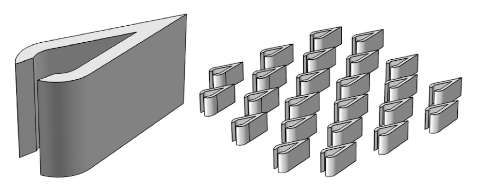A side-by-side image showing a single structure and array of Piranha Pin Fins.