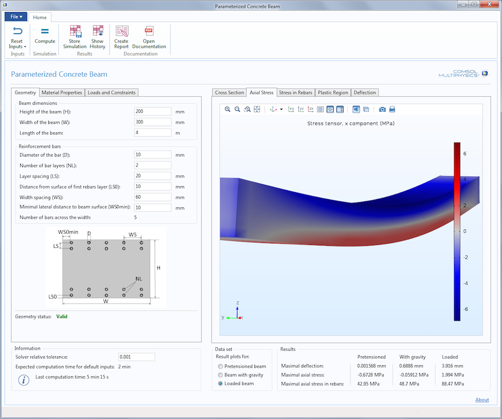 A screenshot of the user interface for the Parameterized Concrete Beam demo app.