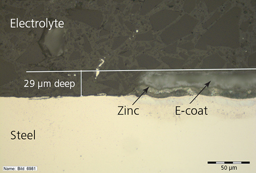 An image of a test sheet showing scratches on an e-coat and zinc layers.