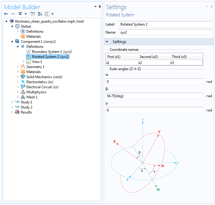 A screenshot highlighting the use of Euler angles.