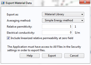 Screen capture showing the Material Library export option.