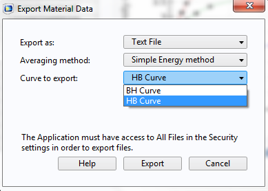 Screenshot showing the Export Material Data option.