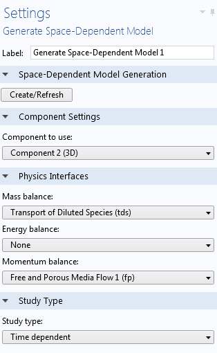 Screen capture showing the Generate Space-Dependent Model feature settings.