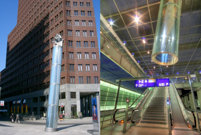 Side-by-side photographs showing a light pipe above ground and underground at a Berlin train station.