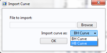 Screenshot depicting the option to import a curve as a B-H Curve or an H-B Curve.
