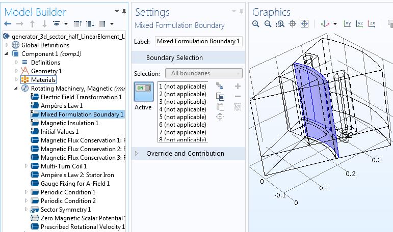 Boundary selections Руководство по моделированию вращающихся электрических устройств в 3D