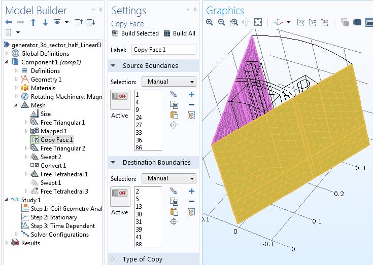 Copy Face feature settings Руководство по моделированию вращающихся электрических устройств в 3D