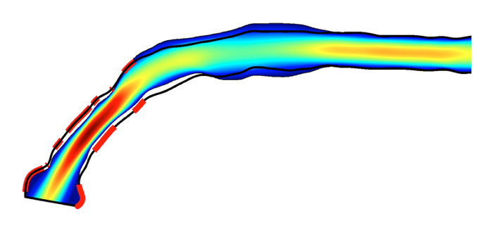 A plot showing a coupled CFD and shape optimization prediction in COMSOL Multiphysics.