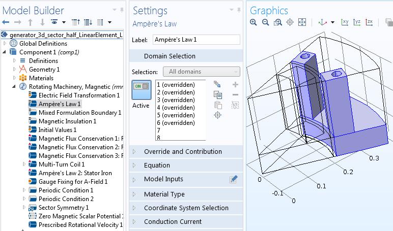 Domain selections Руководство по моделированию вращающихся электрических устройств в 3D