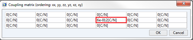 A screenshot of the settings window for a third example of a d coefficient matrix.