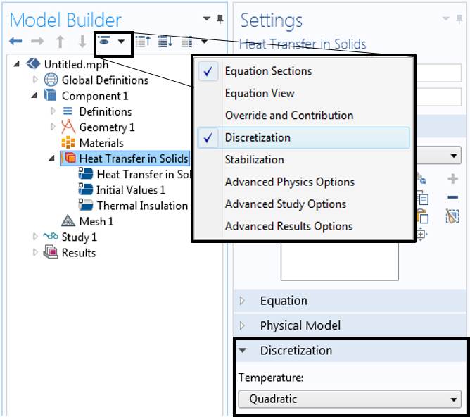 A screenshot showing how to view the element order of a physics interface in COMSOL Multiphysics.