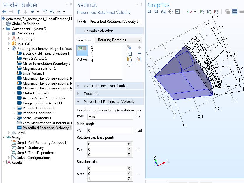 Prescribed rotation of rotor domains Руководство по моделированию вращающихся электрических устройств в 3D
